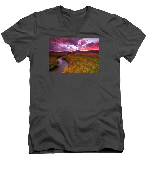 Men's V-Neck T-Shirt featuring the photograph Sunset In The North Fields. by Johnny Adolphson