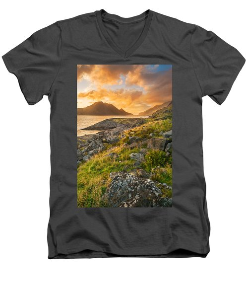 Sunset In The North Men's V-Neck T-Shirt by Maciej Markiewicz