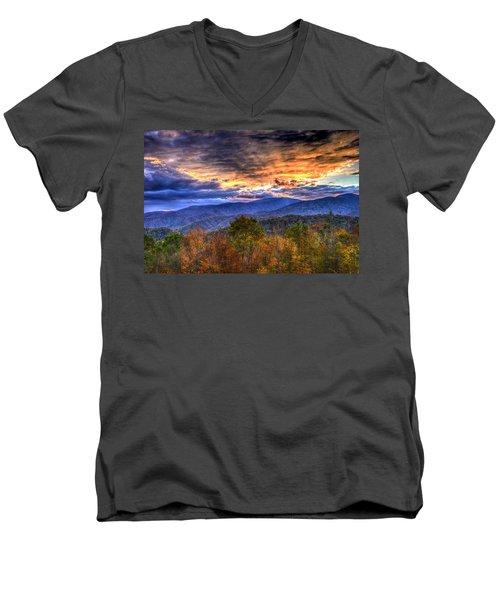 Sunset In The Smokies Men's V-Neck T-Shirt