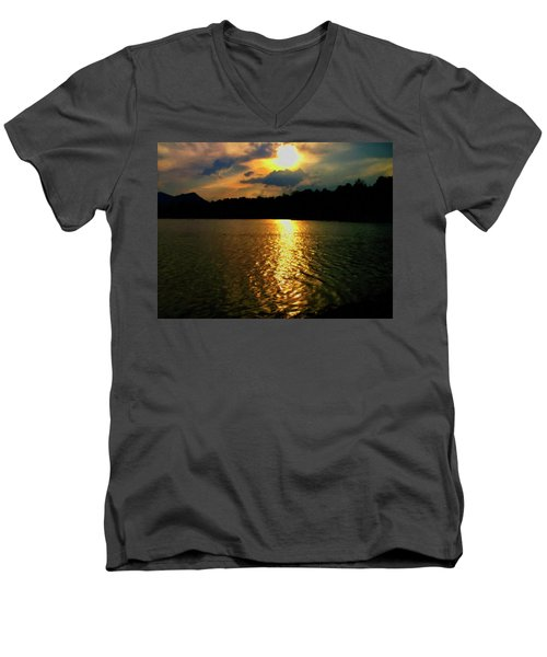 Men's V-Neck T-Shirt featuring the digital art Sunset In The Smoky Mountains 1 by Chris Flees