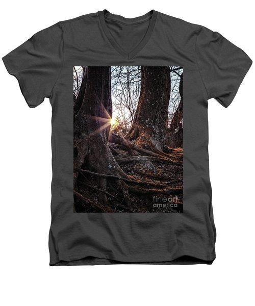 Sunset In The Woods Men's V-Neck T-Shirt