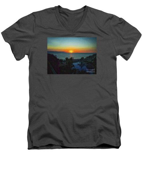 Sunset In Vallarta  ... Men's V-Neck T-Shirt by Chuck Caramella