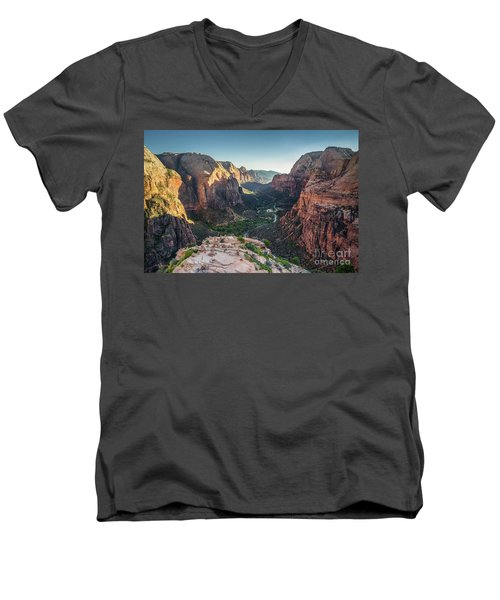 Sunset In Zion National Park Men's V-Neck T-Shirt by JR Photography