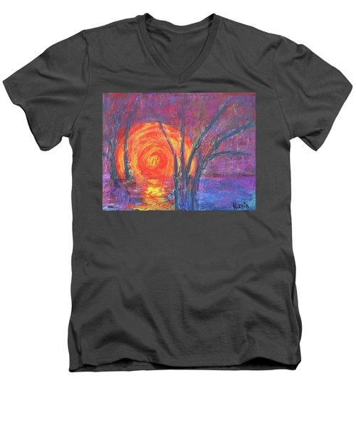 Sunset Men's V-Neck T-Shirt by Karin Eisermann