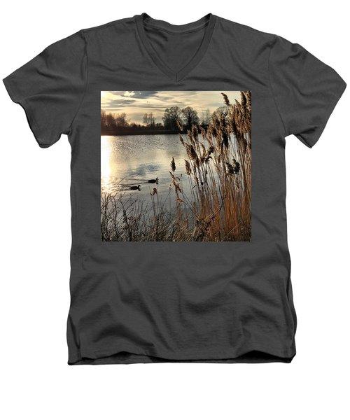 Sunset Lake  Men's V-Neck T-Shirt by Kathy Spall