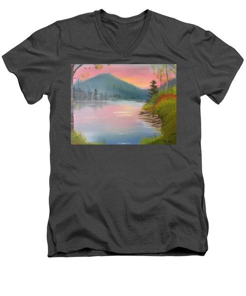 Sunset Lake Men's V-Neck T-Shirt by Thomas Janos