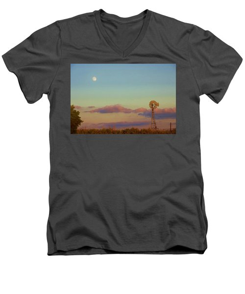 Sunset Moonrise With Windmill  Men's V-Neck T-Shirt