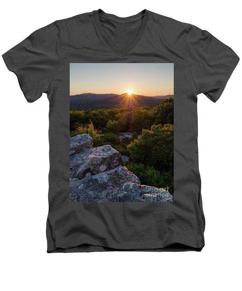 Sunset, Mt. Battie, Camden, Maine 33788-33791 Men's V-Neck T-Shirt