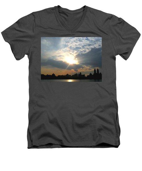 Sunset New York  Men's V-Neck T-Shirt by Vannetta Ferguson