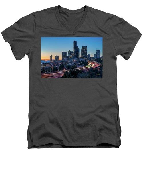 Sunset Night-freeway Lights Men's V-Neck T-Shirt