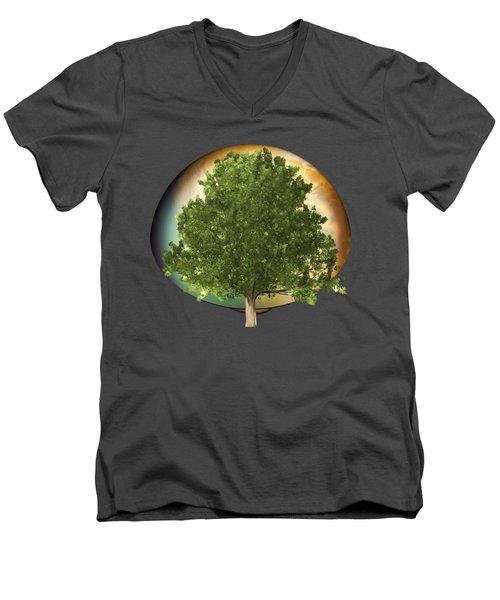 Sunset Oak Tree Cartoon Men's V-Neck T-Shirt by Linda Phelps