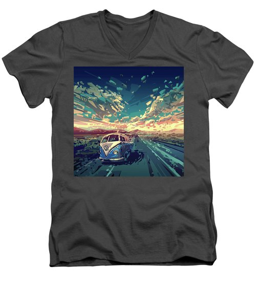 Sunset Oh The Road Men's V-Neck T-Shirt by Bekim Art