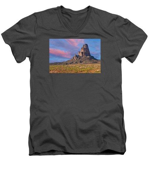 Sunset On Agathla Peak Men's V-Neck T-Shirt by Jeff Goulden
