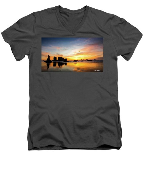 Sunset On Bandon Men's V-Neck T-Shirt