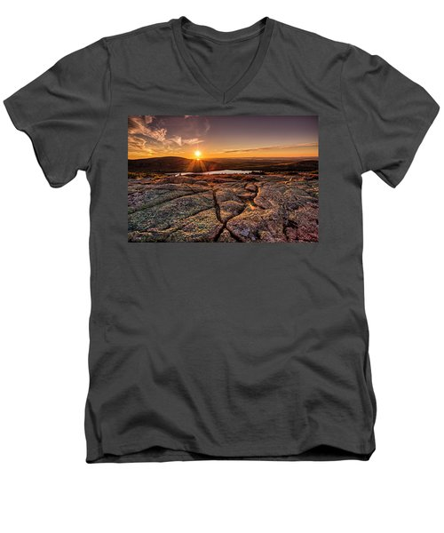 Sunset On Cadillac Mountain Men's V-Neck T-Shirt