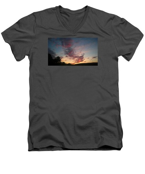 Men's V-Neck T-Shirt featuring the photograph Sunset On Hunton Lane #11 by Carlee Ojeda
