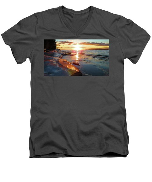 Sunset On Ice Men's V-Neck T-Shirt