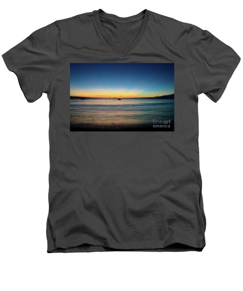 Sunset On Ka'anapali Beach Men's V-Neck T-Shirt by Kelly Wade