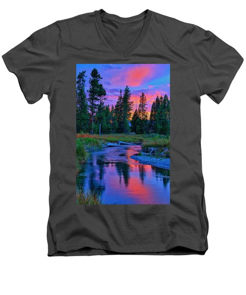 Sunset On Lucky Dog Creek Men's V-Neck T-Shirt by Greg Norrell