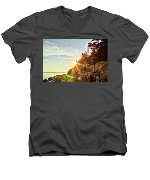 Ocean Sunset On Maine's Bass Harbor Lighthouse Men's V-Neck T-Shirt