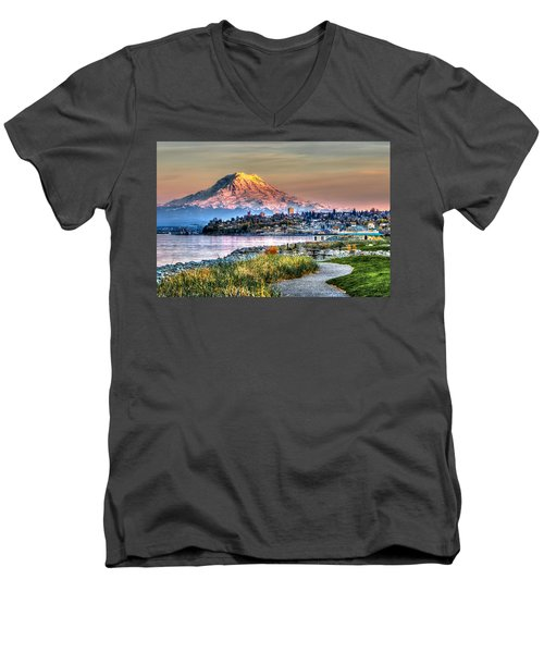 Sunset On Mt Rainier And Point Ruston Men's V-Neck T-Shirt by Rob Green
