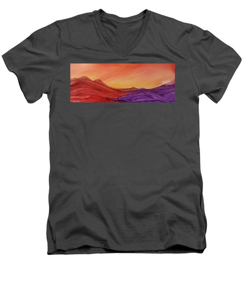 Sunset On Red And Purple Hills Men's V-Neck T-Shirt
