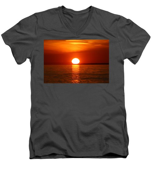 Men's V-Neck T-Shirt featuring the photograph Sunset On Superior by Paula Brown