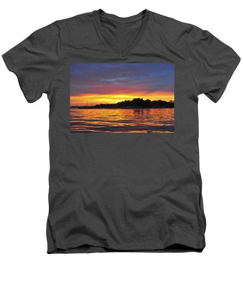 Sunset On The Bay Island Heights Nj Men's V-Neck T-Shirt