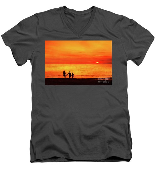 Sunset On The Beach Men's V-Neck T-Shirt by Randy Steele