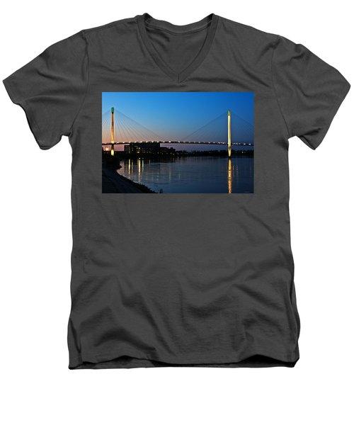 Sunset On The Bob Kerry Pedestrian Bridge Men's V-Neck T-Shirt