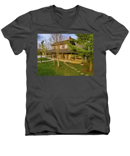 Sunset On The Cabin Men's V-Neck T-Shirt