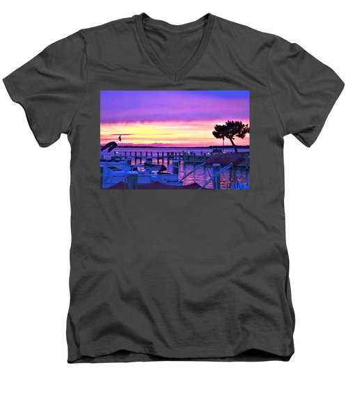 Sunset On The Docks Men's V-Neck T-Shirt