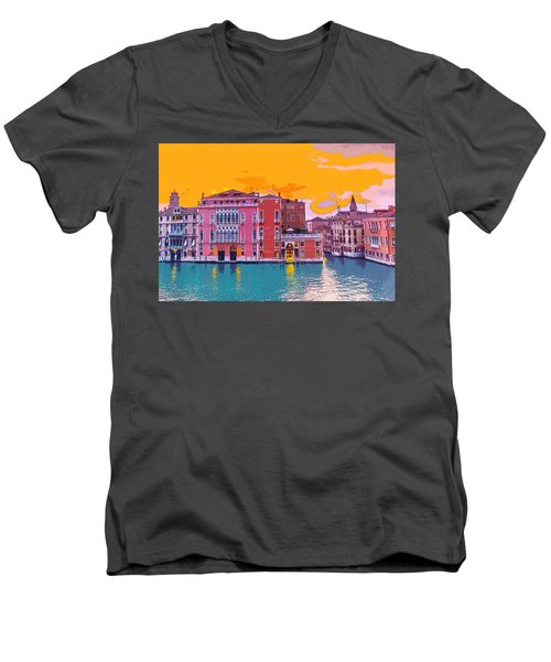 Sunset On The Grand Canal Venice Men's V-Neck T-Shirt