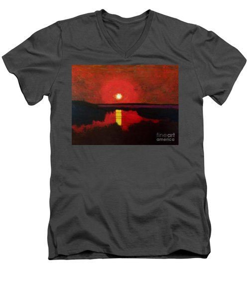 Men's V-Neck T-Shirt featuring the painting Sunset On The Lake by Donald J Ryker III