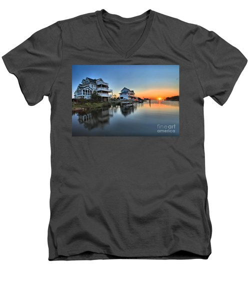 Sunset On The Obx Sound Men's V-Neck T-Shirt