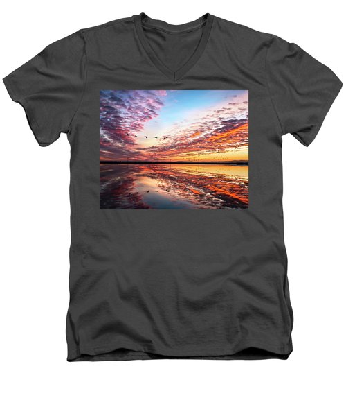 Sunset On The Pacific Flyway Men's V-Neck T-Shirt