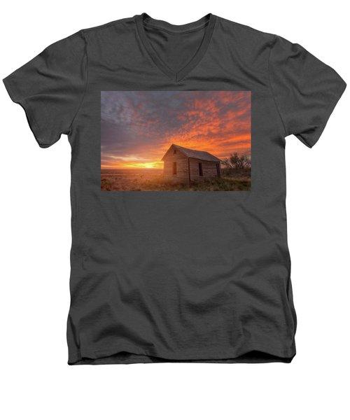 Sunset On The Prairie  Men's V-Neck T-Shirt by Darren White