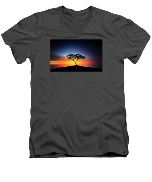 Sunset On The Tree Men's V-Neck T-Shirt