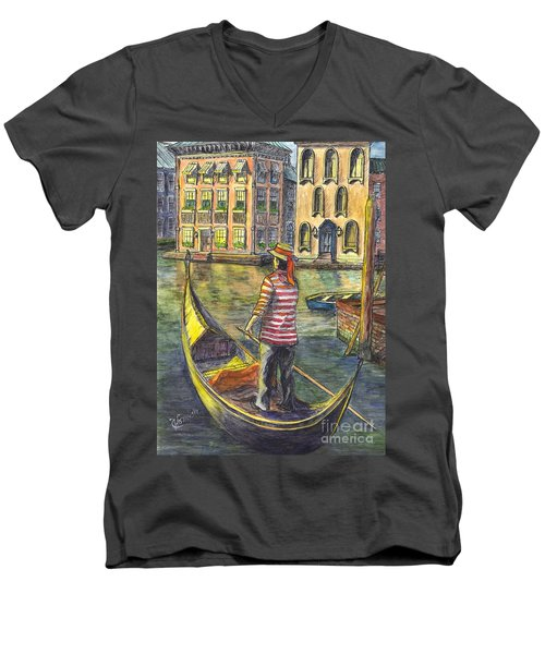 Men's V-Neck T-Shirt featuring the painting Sunset On Venice - The Gondolier by Carol Wisniewski
