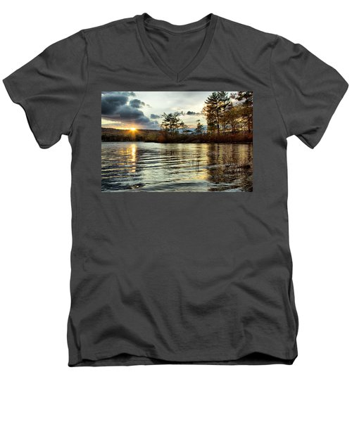 Sunset On Webster Lake  Men's V-Neck T-Shirt