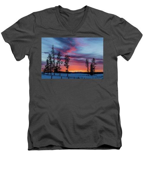 Sunset Over A Farmers Field, Cowboy Trail, Alberta, Canada Men's V-Neck T-Shirt
