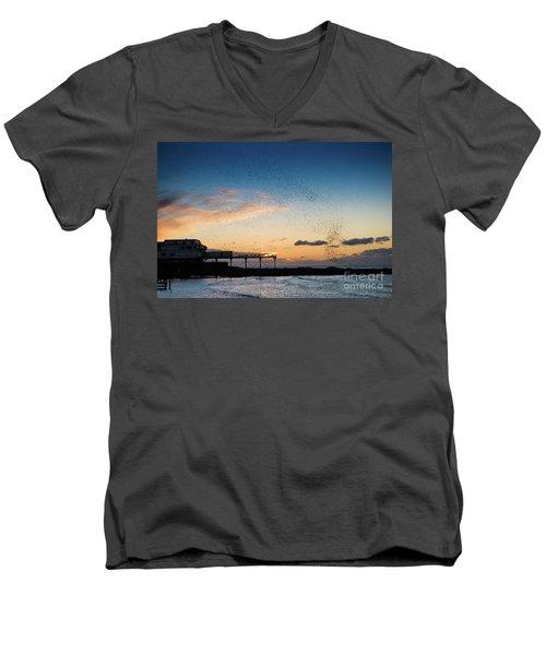 Sunset Over Aberystwyth Pier Men's V-Neck T-Shirt