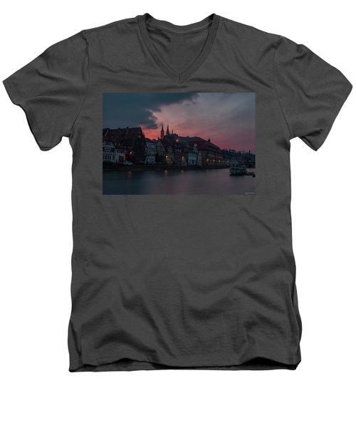 Sunset Over Bamberg Men's V-Neck T-Shirt by Photo Escape