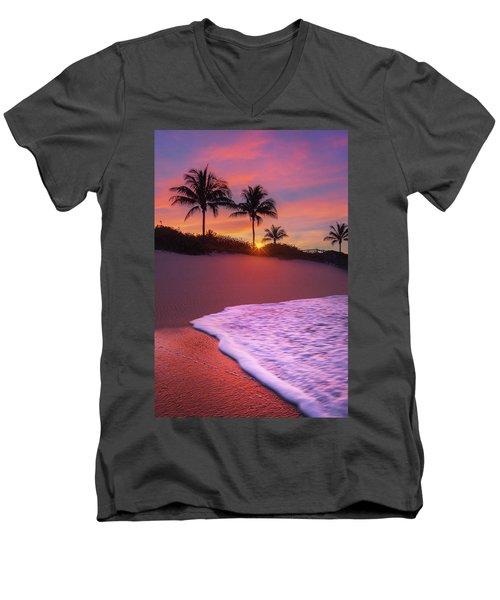 Sunset Over Coral Cove Park In Jupiter, Florida Men's V-Neck T-Shirt by Justin Kelefas