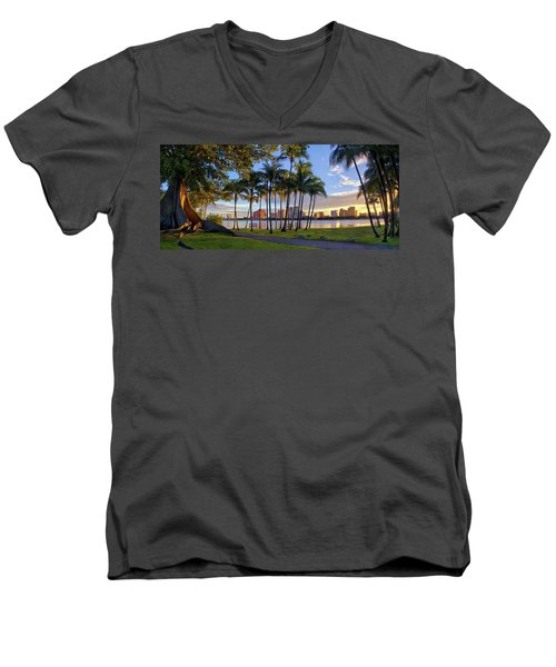 Sunset Over Downtown West Palm Beach From Palm Beach Island Men's V-Neck T-Shirt by Justin Kelefas
