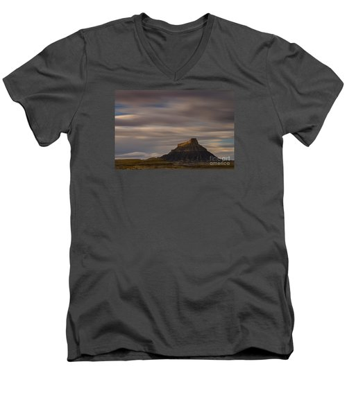 Men's V-Neck T-Shirt featuring the photograph Sunset Over Factory Butte by Keith Kapple