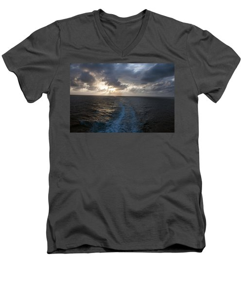 Men's V-Neck T-Shirt featuring the photograph Sunset Over Fort Lauderdale by Allen Carroll