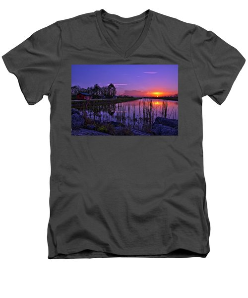 Sunset Over Hungryland Wildlife Management Area Men's V-Neck T-Shirt by Justin Kelefas