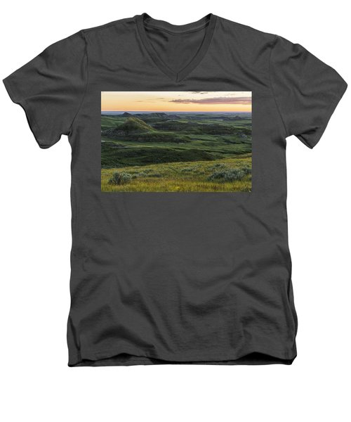 Sunset Over Killdeer Badlands Men's V-Neck T-Shirt by Robert Postma