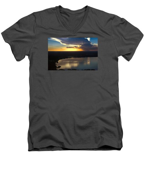 Men's V-Neck T-Shirt featuring the photograph Sunset Over Lake by Carolyn Marshall